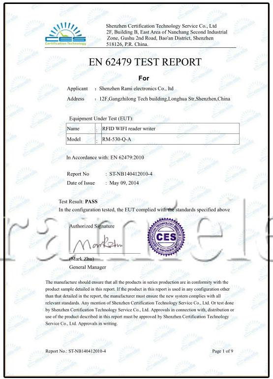 EN 62479 TEST REPROT