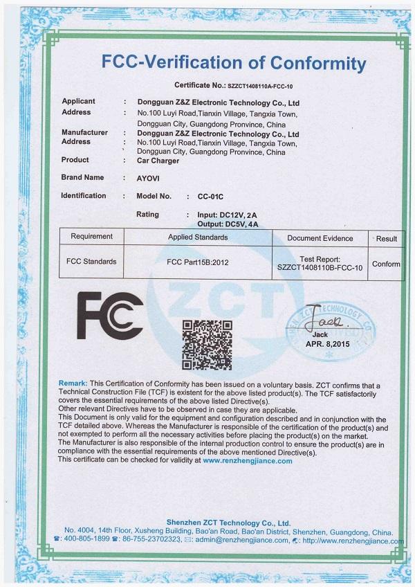 FCC certification of CC-01