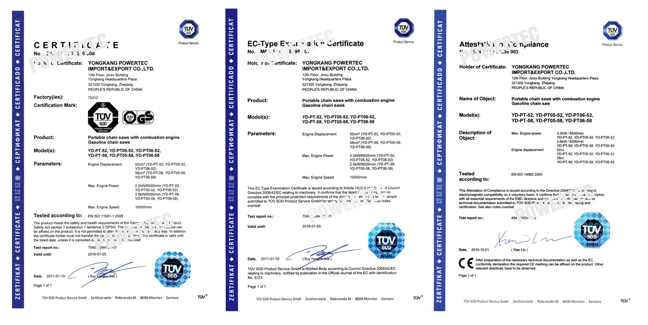 Chain Saw's-CE\GS\EMC-Approved Certificate