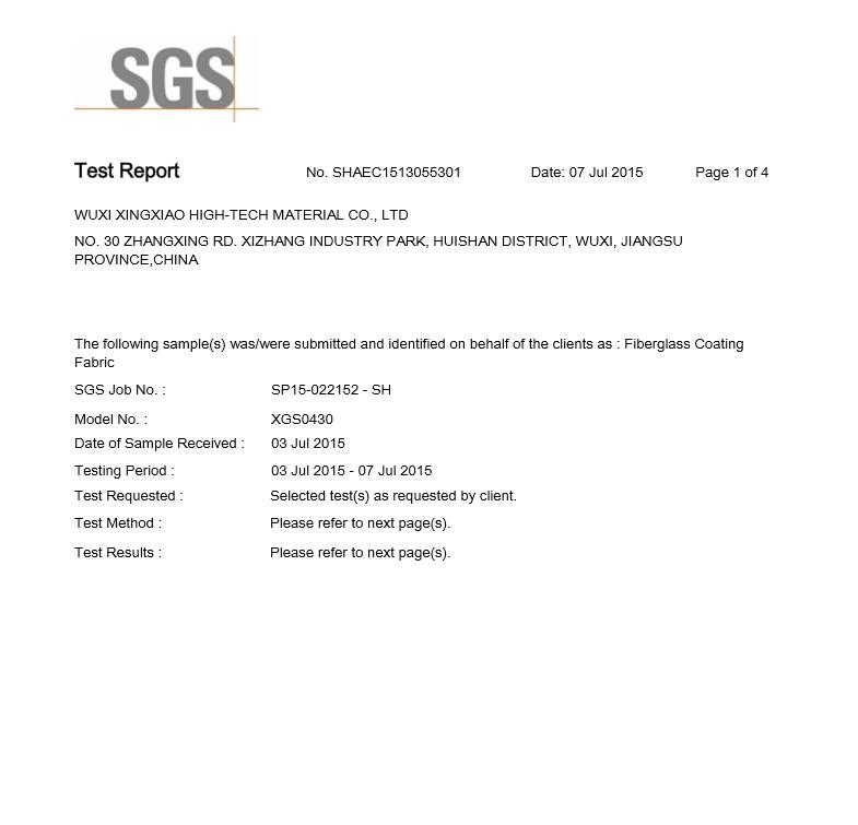 Fiberglass coating fabric SGS report