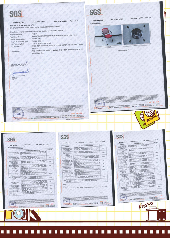 SGS Chair (FS-3139) Certificate