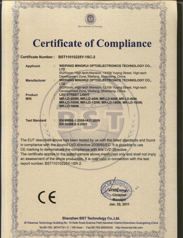 CE certificate for LED street light