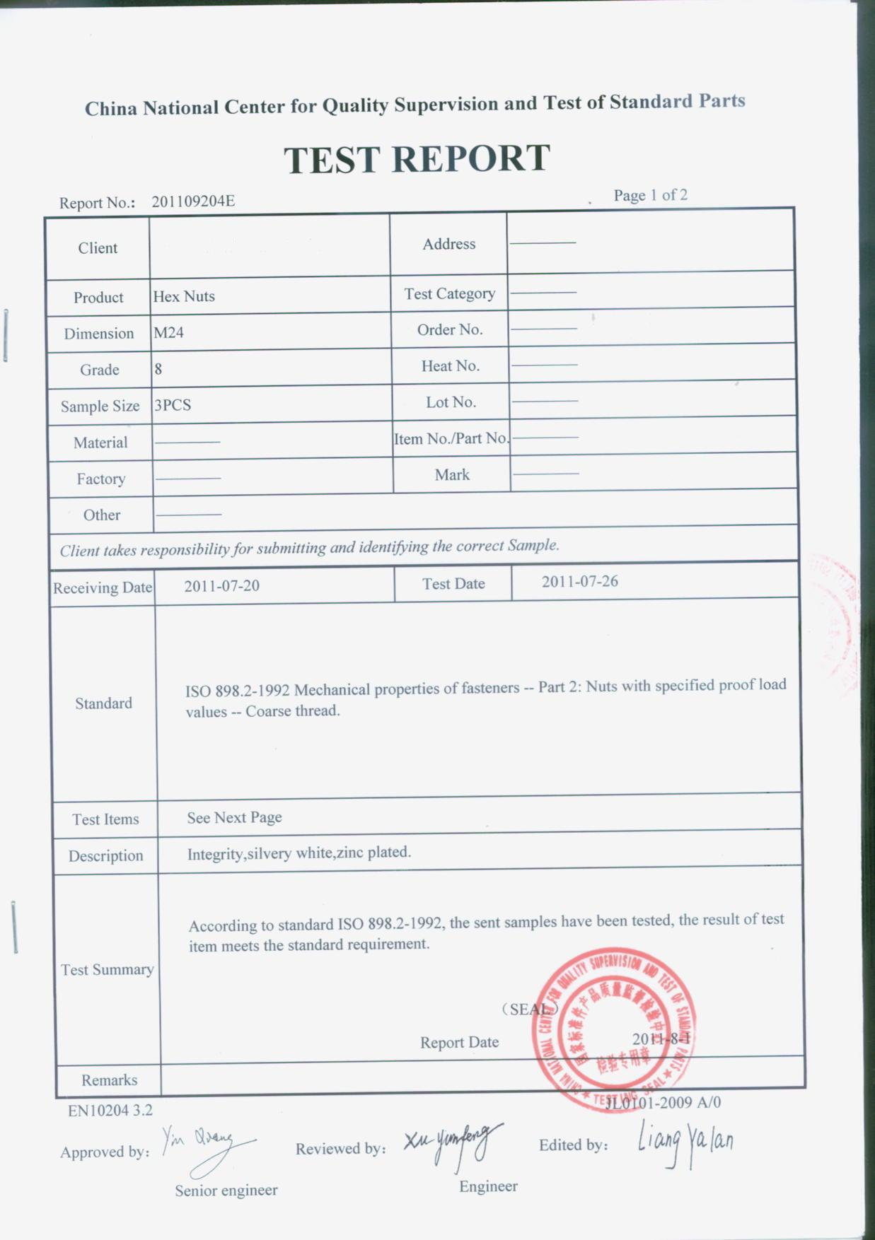 Testing report for hex nut from National Testing centre