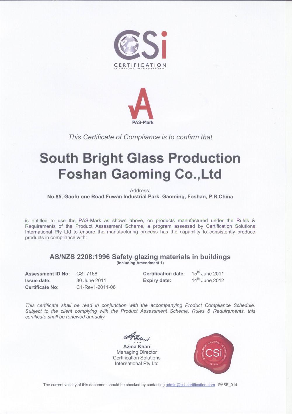 Certification for Australia Standard of Glass02
