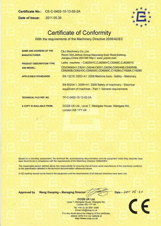 CE Certificate for lathe machine torno