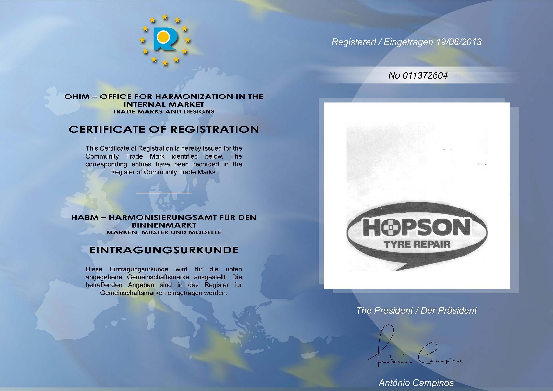 HOPSON TYRE REPAIR REGISTRATION in EUROPE