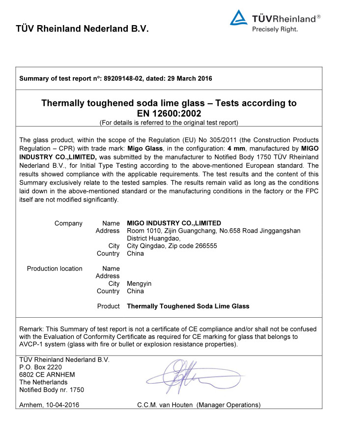 EN12600 Test Report of 4mm Tempered Glass
