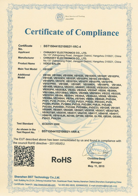 RoHS for CCTV UTP Video Balun
