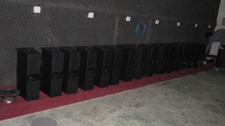 Active speaker testing in testing room before shipment