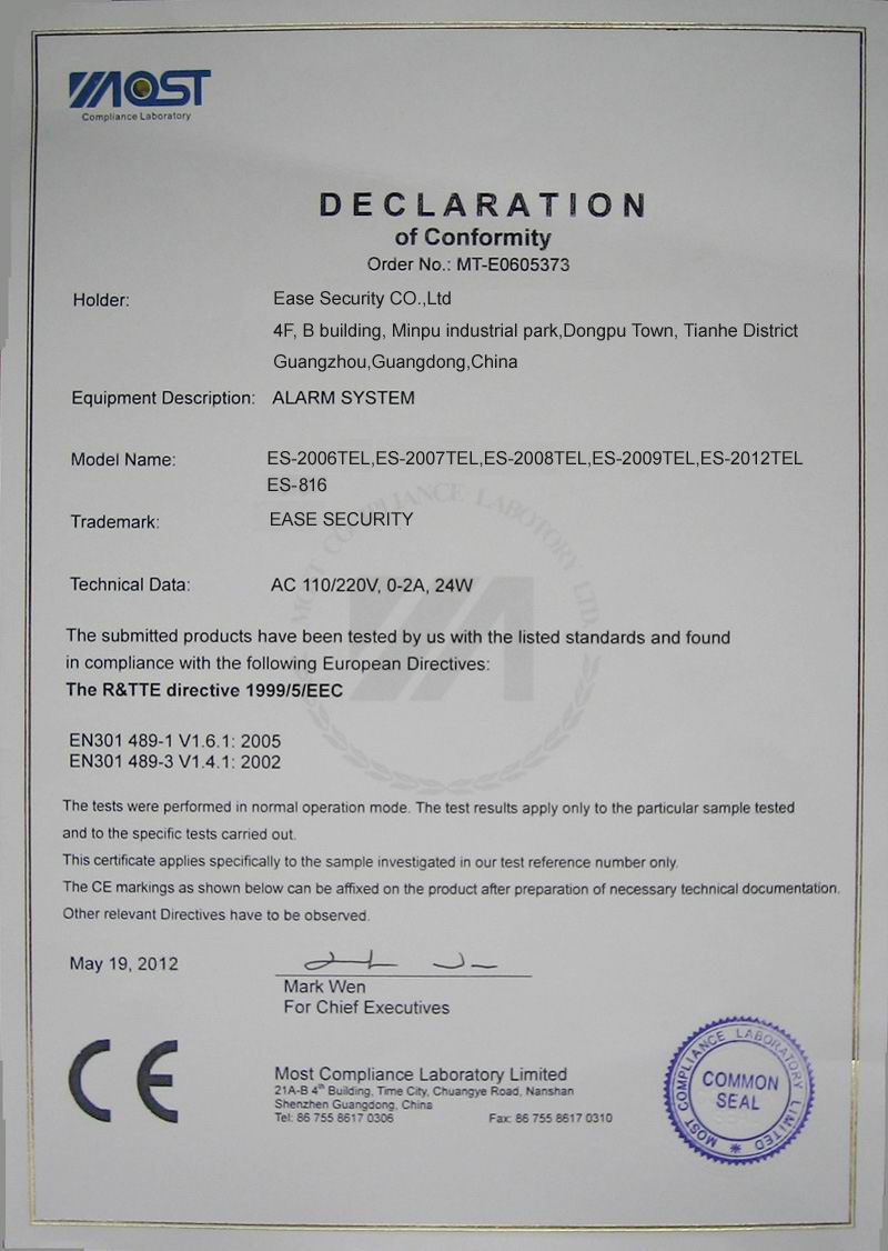 CE Certificate for Auto-Dial Alarm System