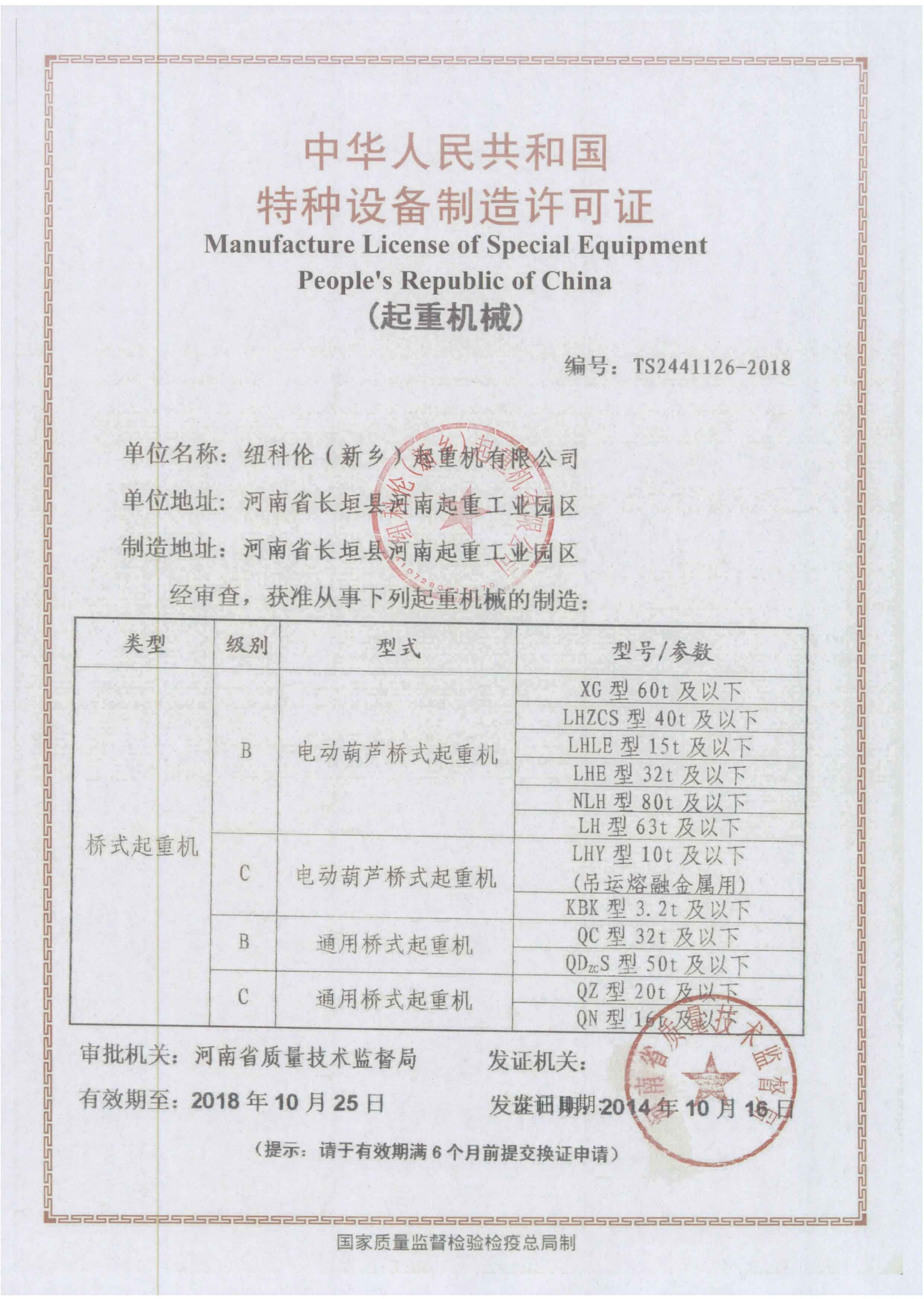 New series/general type double girder crane manufacture license