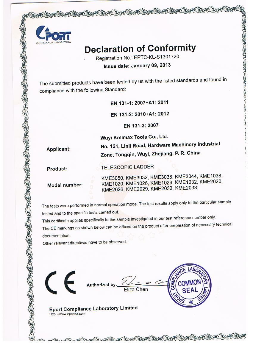 CE certificate for telescopic ladder