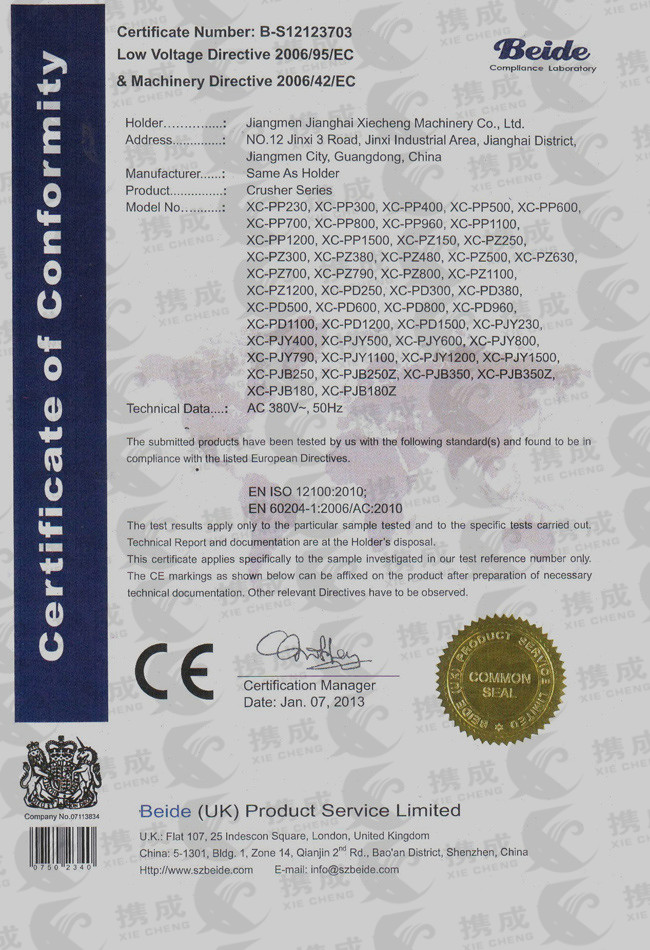 CE certificate of plastic crusher