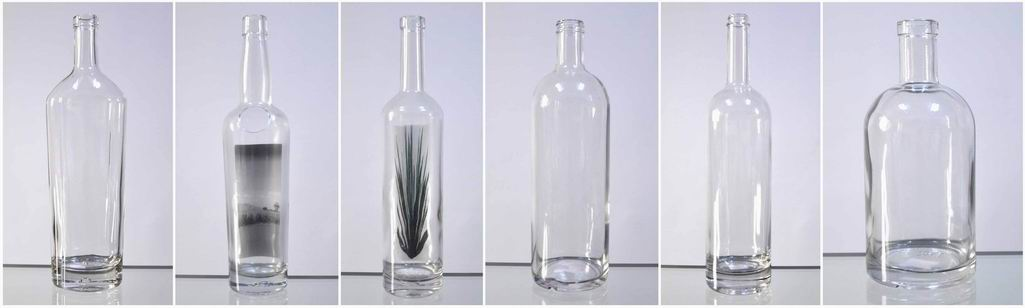 High clear white glass liquor bottle with logo printing