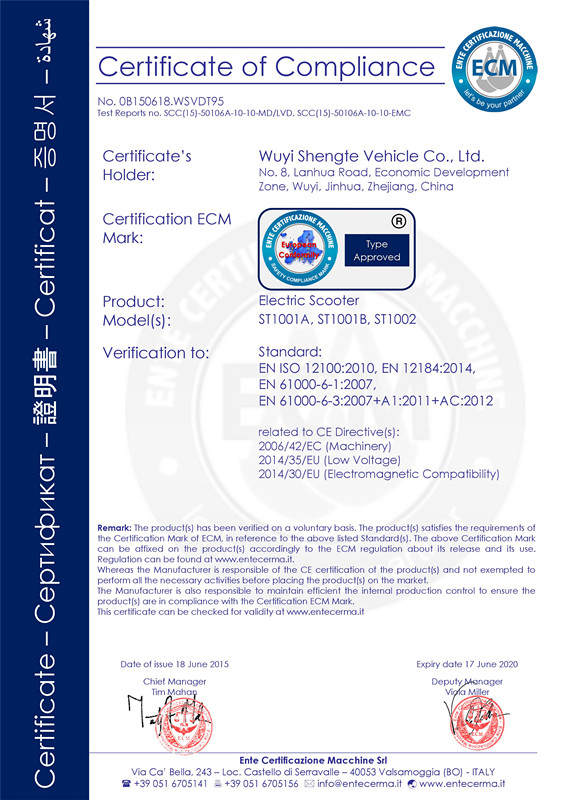 CE CERTIFICAT OF ELECTRIC SCOOTER