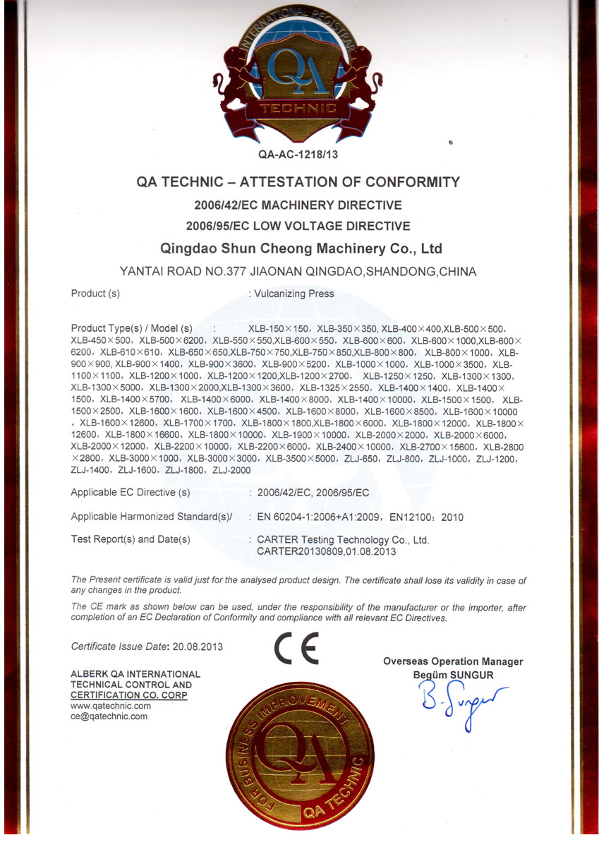 CE Certification for Vulcanizing Press