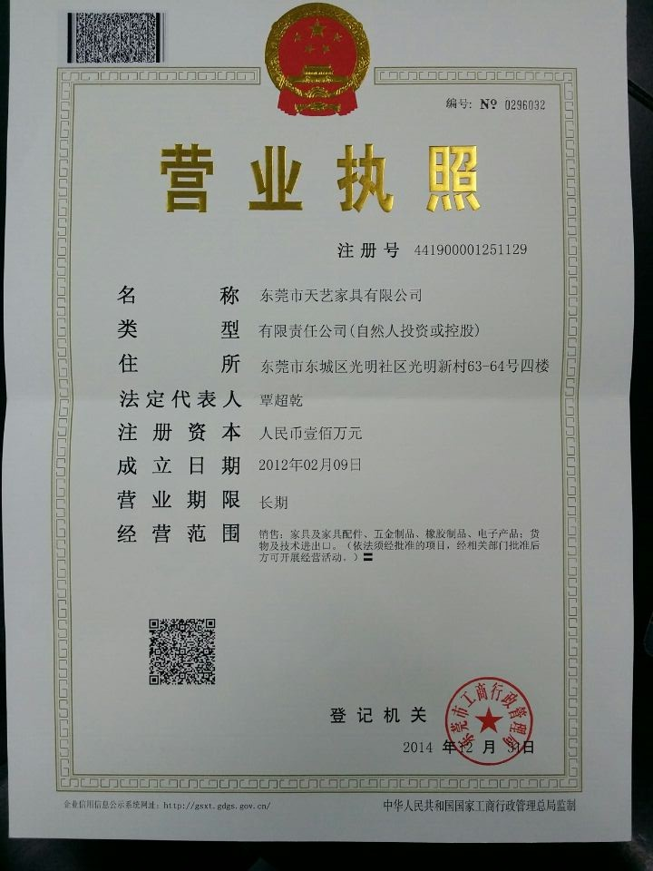 Business register certificate