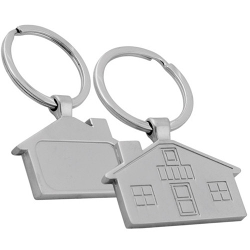 promotional house shaped metal key chain key ring
