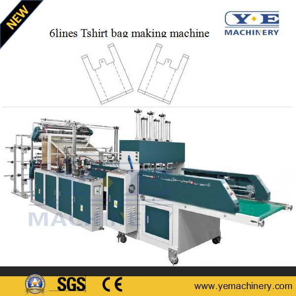 6lines Automatic Tshirt bag making machine