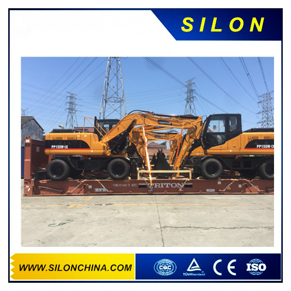 Singapore-06 Units Wheel Excavator PP150W-1X was send to Singapore on 26th Jul,2016