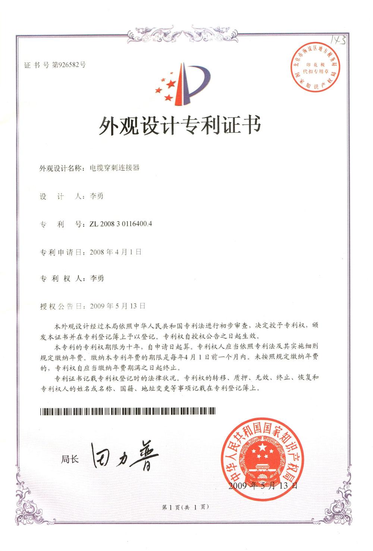 Cetificate of Design Patent
