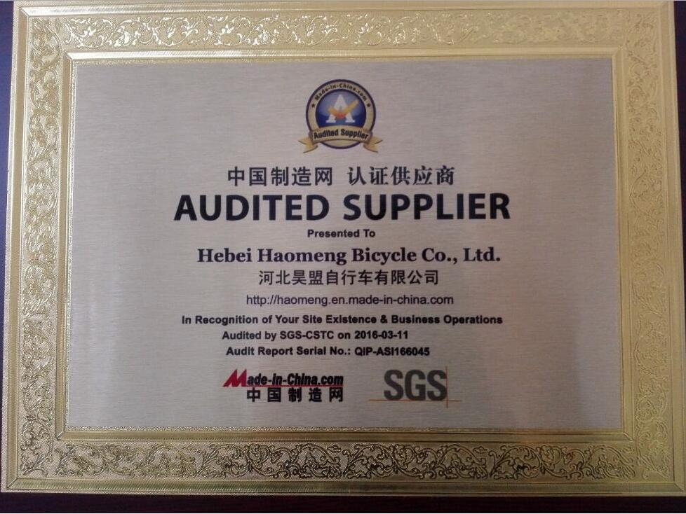 Audited Supplier Hebei Haomeng Bicycle