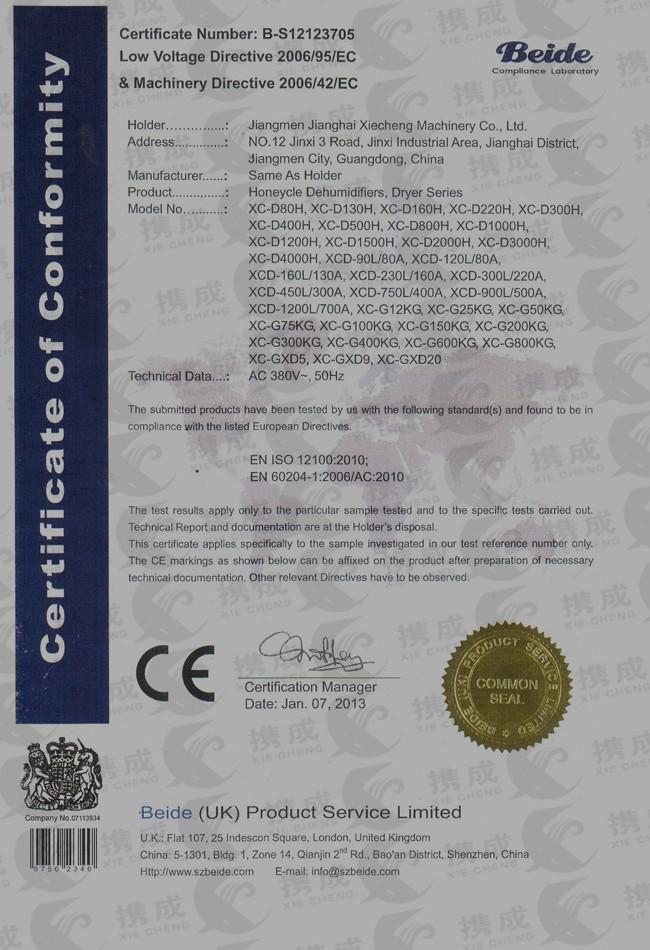 CE certificate of hopper dryer