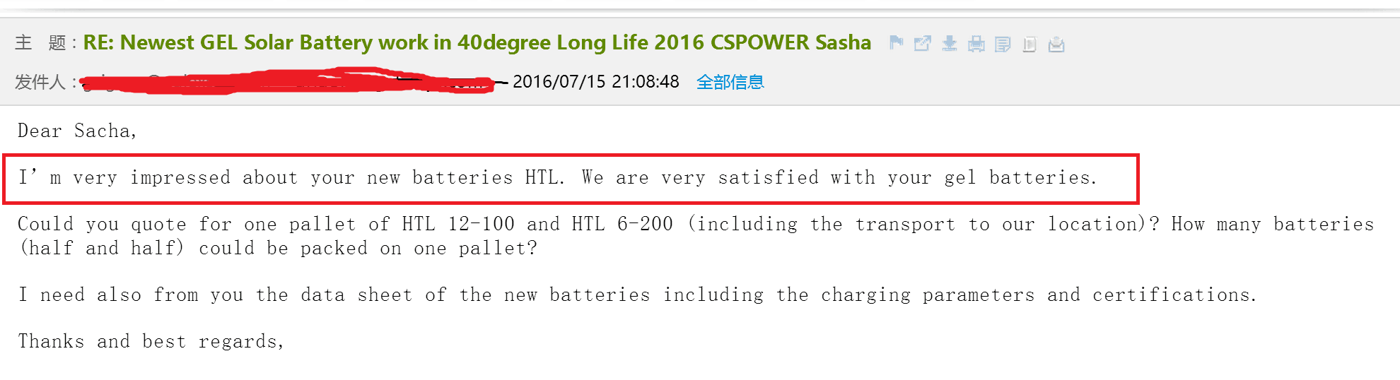 Client from Middle East love CSPOWER long life GEL battery