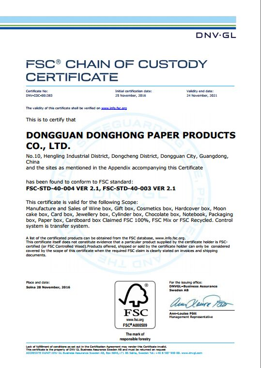 FSC Certificate of packaging