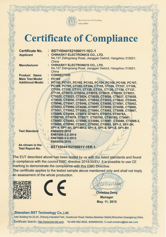 CE Certificate for Connectors