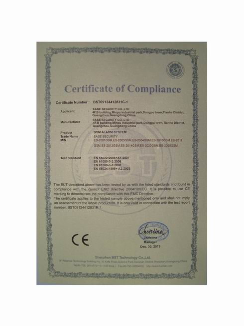 CE Certificates for GSM Alarm System