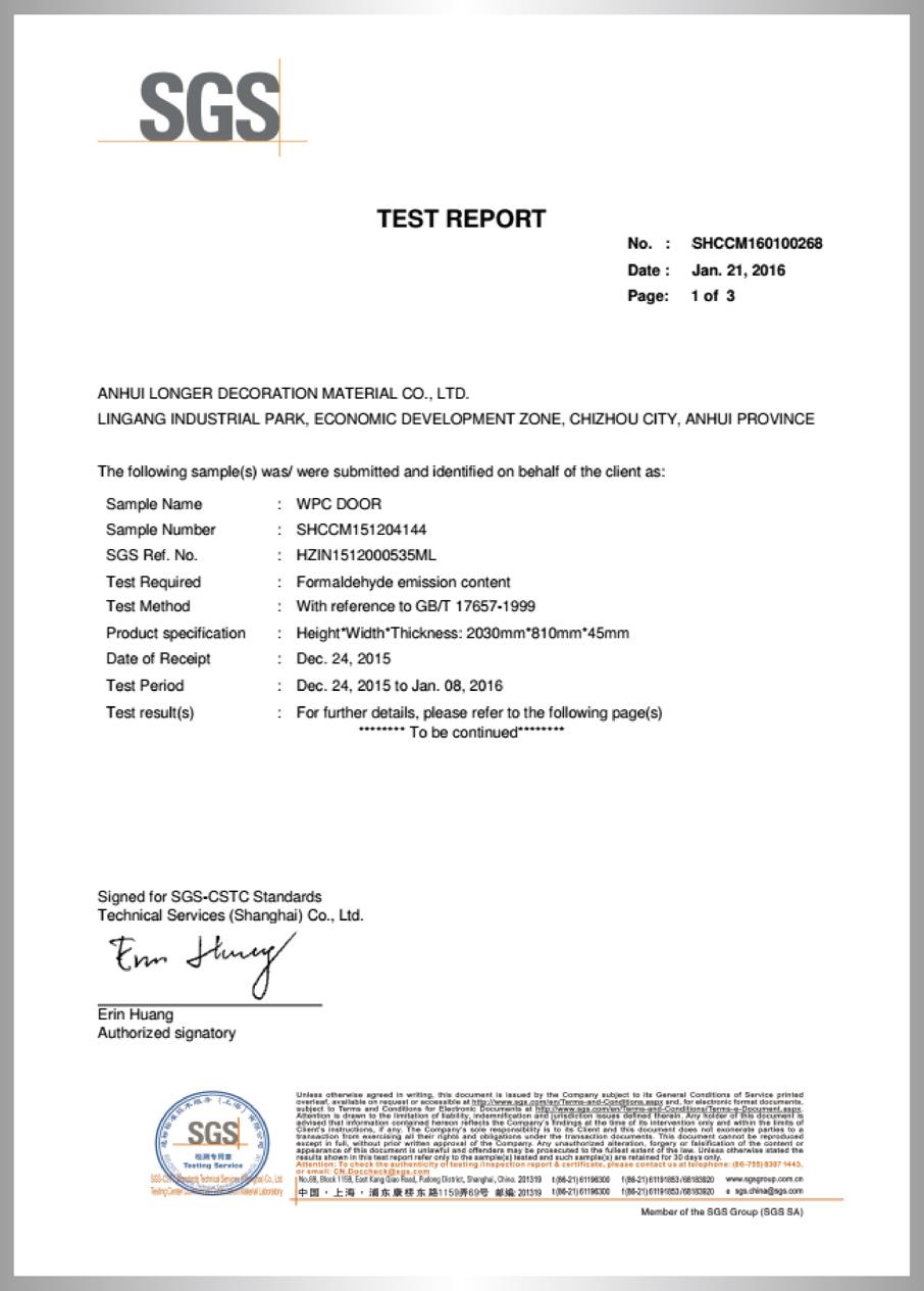 Formaldehyde Emission Test