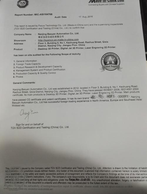 TUV certication