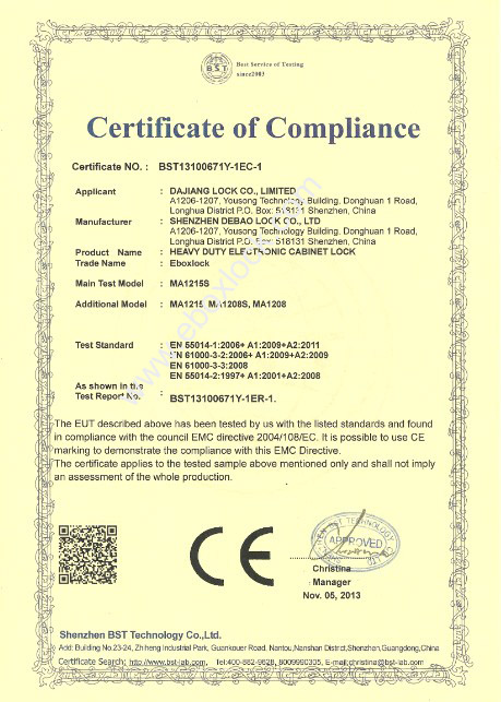 CE certificate for Electronic Cabinet Lock