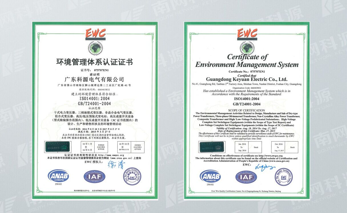 ISO14001 Cerfificate of Environment Management System