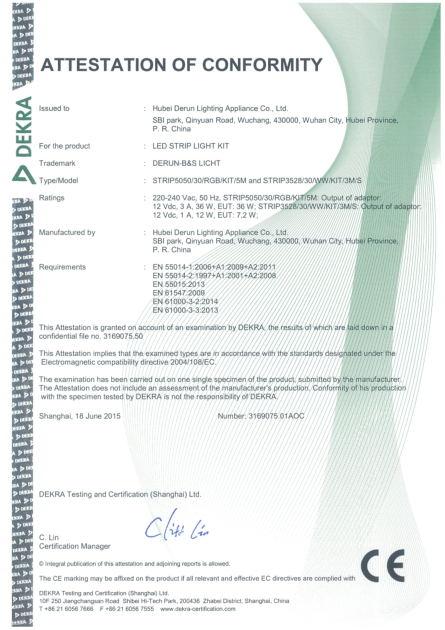 Dekra CE Certificate for LED Strip Light