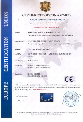 CE certification of laser cutting machine