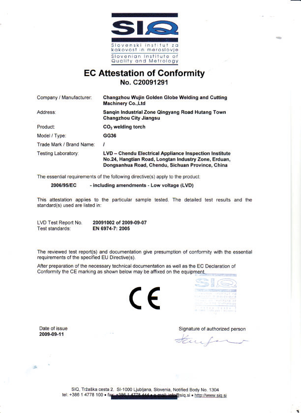 EC Attestation Conformity
