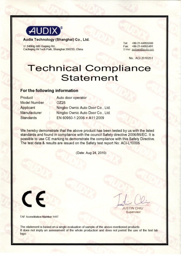 CE certificate of auto door operator