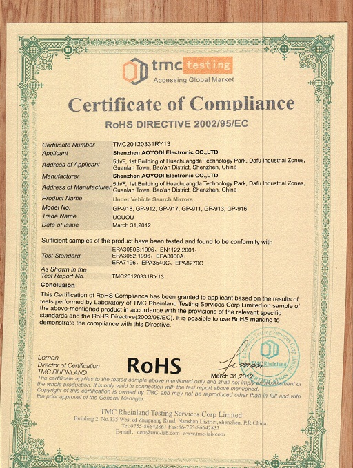 Rohs Certification for under vehicle search mirror