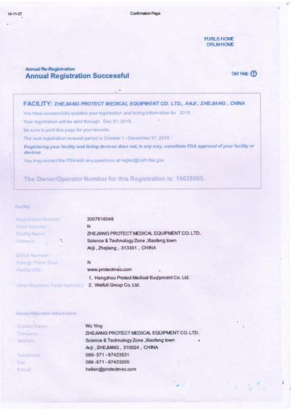 FDA certificate -page 1
