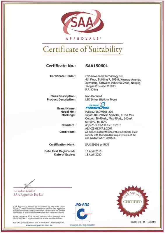 SAA Certificate of LED Driver
