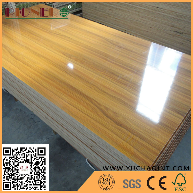 Grooved High Glossy Marble/Wooden Grain Melamine Plywood