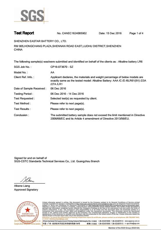 SGS test report AA alkaline