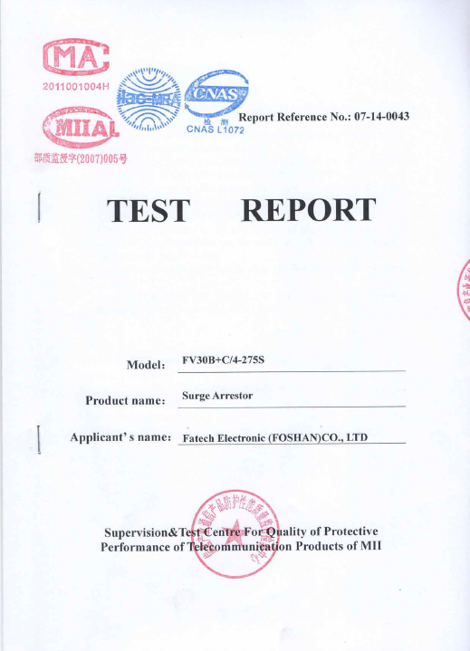 Test report of FV30B+C SPD