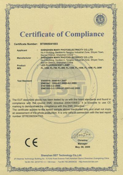 CE For LED Fluorescent