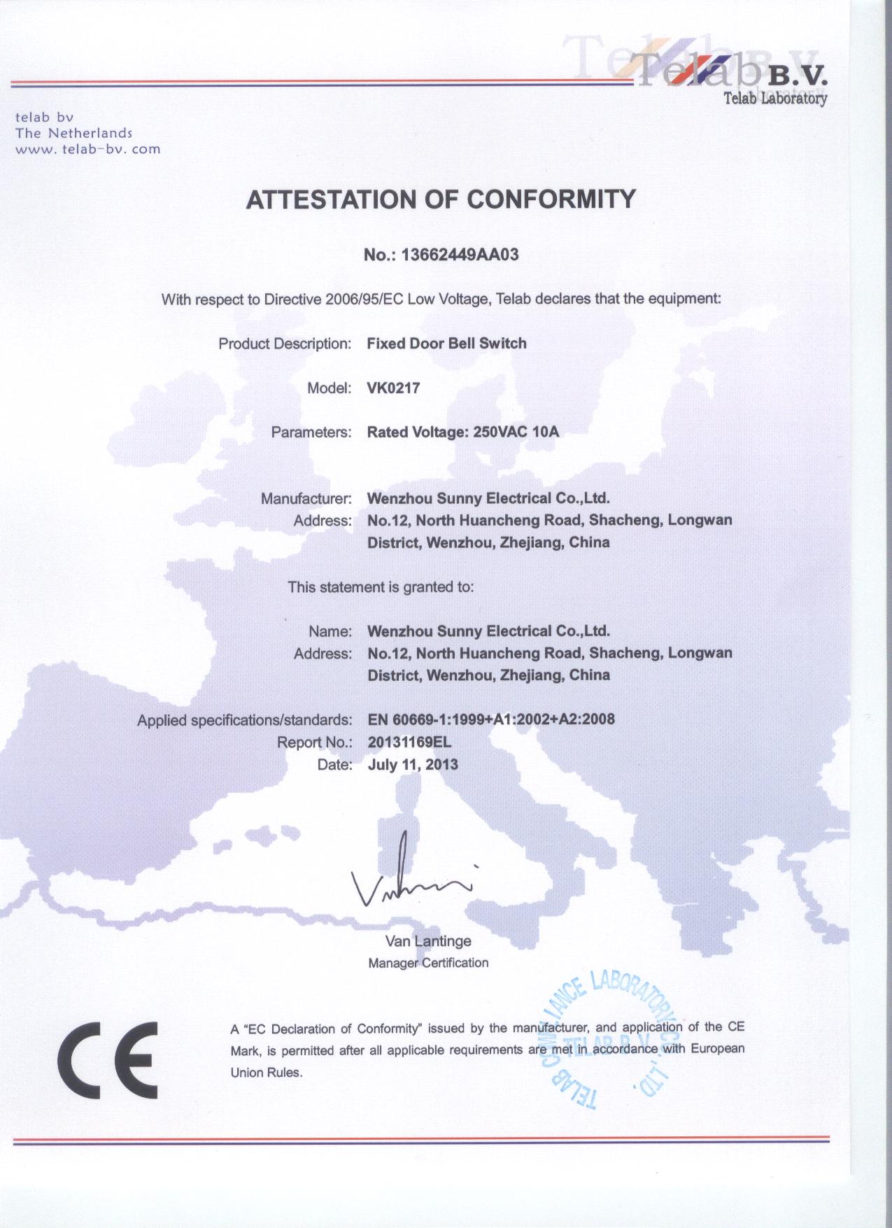 CE CERTIFICATE OF FIXED DOOR BELL SWITCH