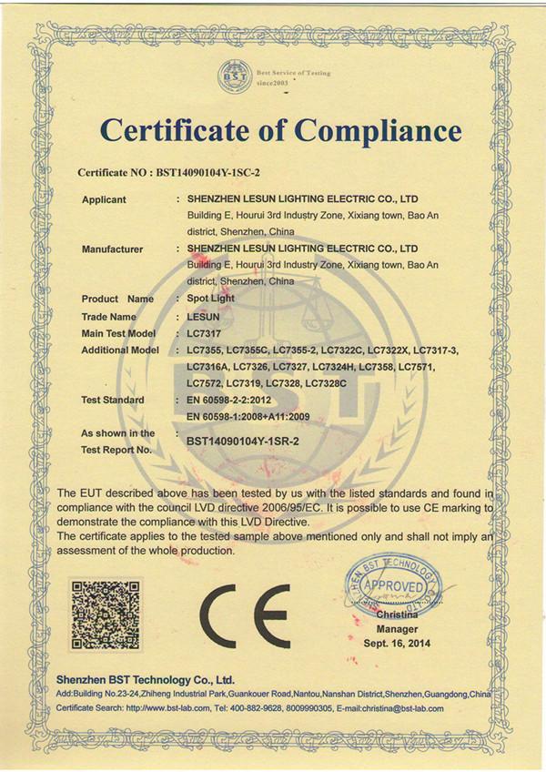 CE(LVD) of LESUN Standing Spotlight