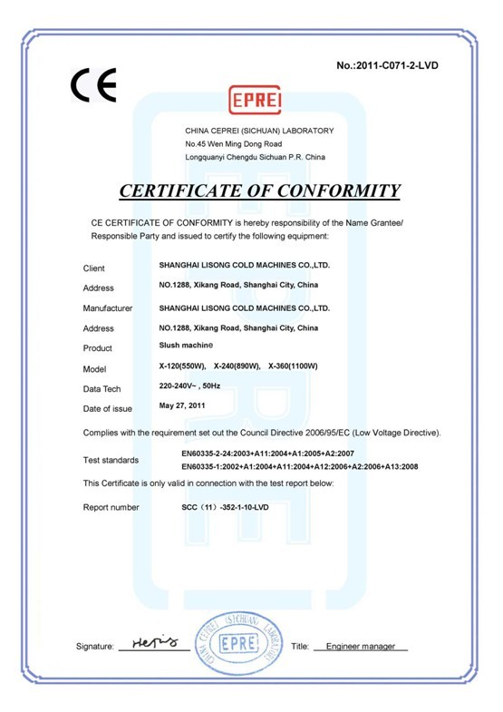 CE certification of slush machine