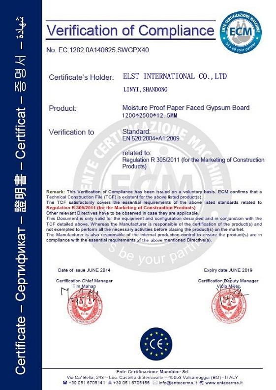 CE Certificate of Gypsum Board